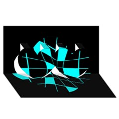 Blue abstract flower Twin Hearts 3D Greeting Card (8x4)