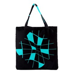 Blue abstract flower Grocery Tote Bag