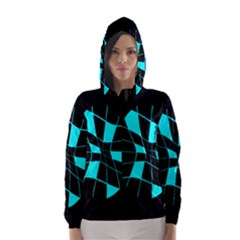 Blue abstract flower Hooded Wind Breaker (Women)
