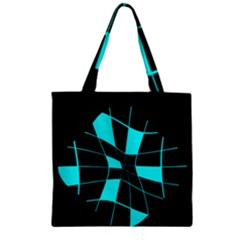 Blue abstract flower Zipper Grocery Tote Bag