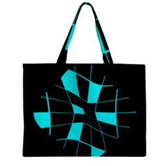 Blue abstract flower Zipper Mini Tote Bag