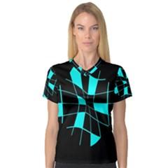 Blue abstract flower Women s V-Neck Sport Mesh Tee