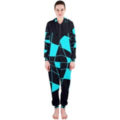 Blue Abstract Flower Hooded Jumpsuit (ladies)
