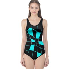 Blue abstract flower One Piece Swimsuit