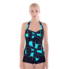 Blue abstract flower Boyleg Halter Swimsuit
