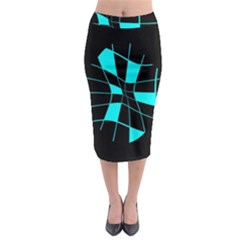 Blue Abstract Flower Midi Pencil Skirt