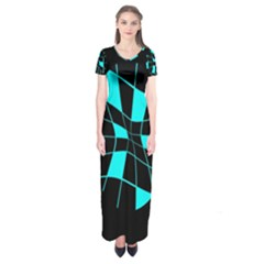 Blue Abstract Flower Short Sleeve Maxi Dress