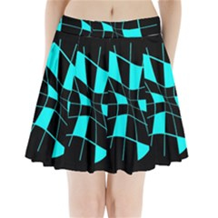 Blue Abstract Flower Pleated Mini Mesh Skirt
