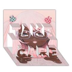 Gamergirl 3 P TAKE CARE 3D Greeting Card (7x5)