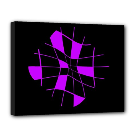 Purple abstract flower Canvas 14  x 11