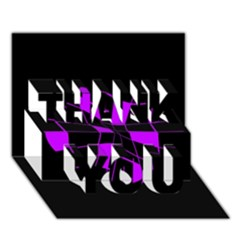 Purple abstract flower THANK YOU 3D Greeting Card (7x5)