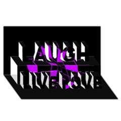 Purple abstract flower Laugh Live Love 3D Greeting Card (8x4)