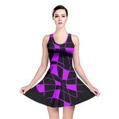 Purple abstract flower Reversible Skater Dress