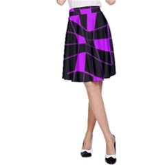 Purple abstract flower A-Line Skirt