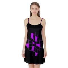 Purple abstract flower Satin Night Slip