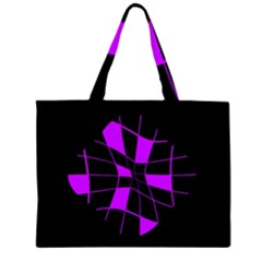 Purple abstract flower Zipper Large Tote Bag