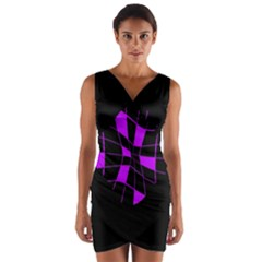 Purple Abstract Flower Wrap Front Bodycon Dress