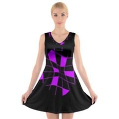 Purple abstract flower V-Neck Sleeveless Skater Dress