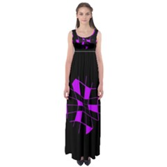 Purple abstract flower Empire Waist Maxi Dress
