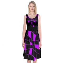 Purple Abstract Flower Midi Sleeveless Dress