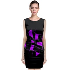 Purple Abstract Flower Classic Sleeveless Midi Dress