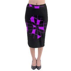 Purple abstract flower Midi Pencil Skirt