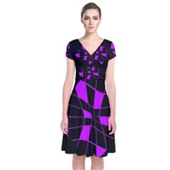 Purple Abstract Flower Short Sleeve Front Wrap Dress