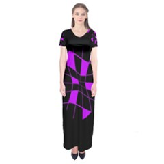 Purple abstract flower Short Sleeve Maxi Dress