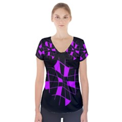 Purple Abstract Flower Short Sleeve Front Detail Top