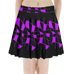 Purple Abstract Flower Pleated Mini Mesh Skirt