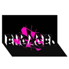 Pink abstract flower ENGAGED 3D Greeting Card (8x4)
