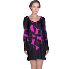 Pink abstract flower Long Sleeve Nightdress