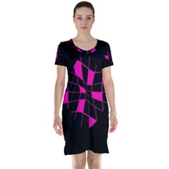 Pink abstract flower Short Sleeve Nightdress