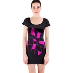 Pink abstract flower Short Sleeve Bodycon Dress
