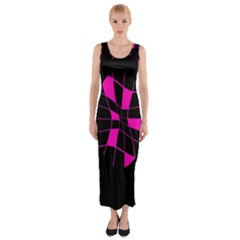 Pink abstract flower Fitted Maxi Dress