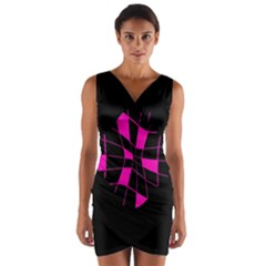 Pink abstract flower Wrap Front Bodycon Dress