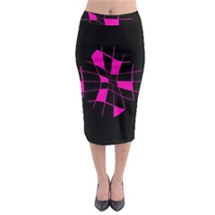 Pink Abstract Flower Midi Pencil Skirt