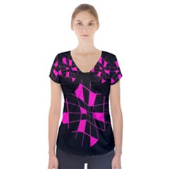 Pink Abstract Flower Short Sleeve Front Detail Top