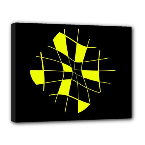 Yellow abstract flower Canvas 14  x 11