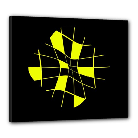 Yellow abstract flower Canvas 24  x 20