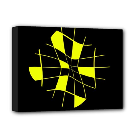 Yellow abstract flower Deluxe Canvas 16  x 12