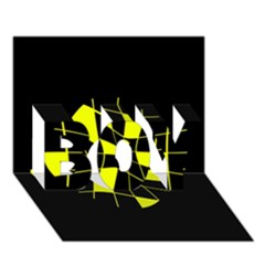 Yellow abstract flower BOY 3D Greeting Card (7x5)