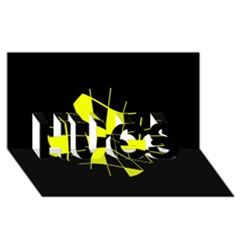 Yellow abstract flower HUGS 3D Greeting Card (8x4)