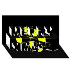 Yellow abstract flower Merry Xmas 3D Greeting Card (8x4)