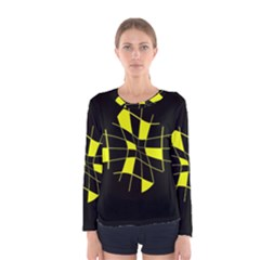 Yellow abstract flower Women s Long Sleeve Tee