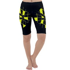 Yellow abstract flower Cropped Leggings