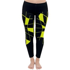 Yellow abstract flower Winter Leggings