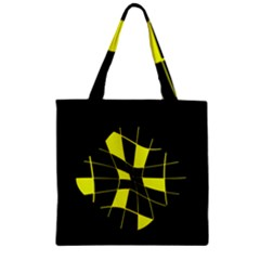 Yellow abstract flower Zipper Grocery Tote Bag