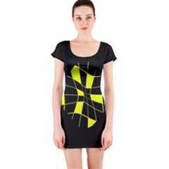 Yellow abstract flower Short Sleeve Bodycon Dress