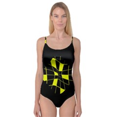 Yellow abstract flower Camisole Leotard